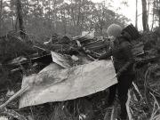 Penelope McManus finding materials (discarded farm junk).