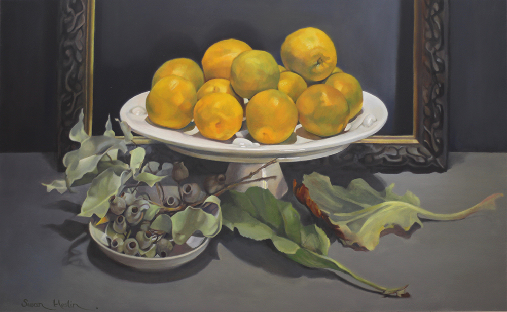 Susan Heslin: <em>Oranges Bergenia and  Gumnuts</em>, oil on wood panel.