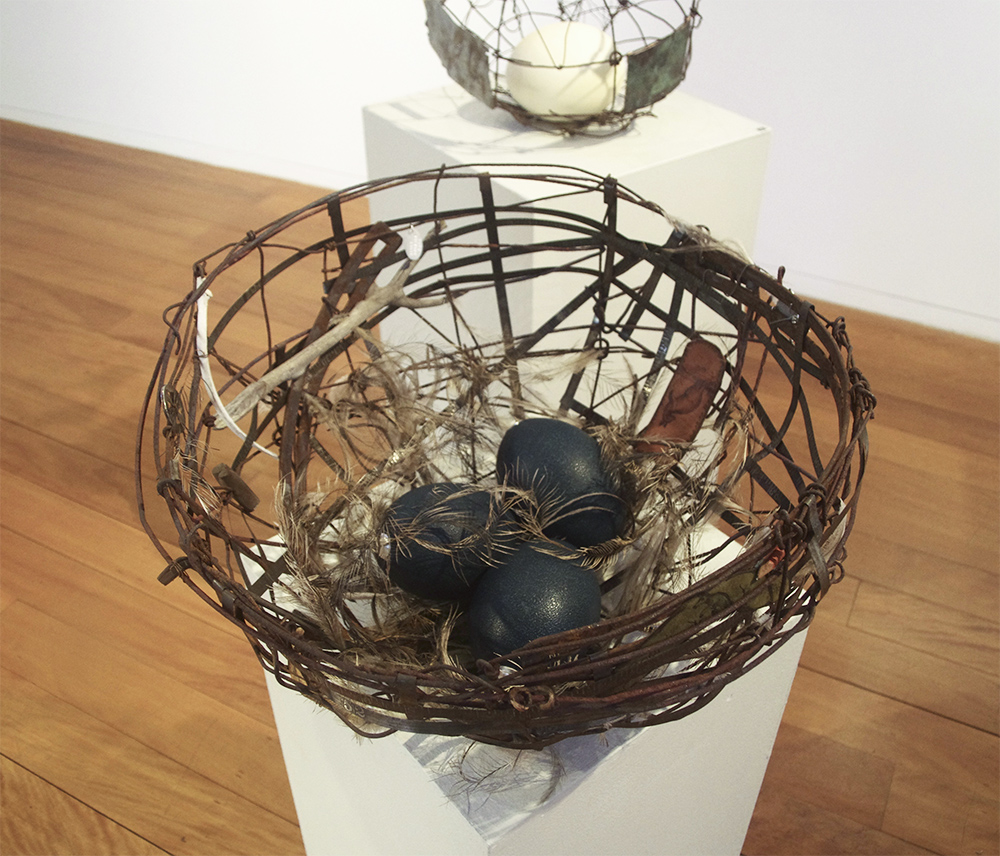 Tracy Hopkirk: <em>A Measure of Time</em>, old bits and pieces (metal tape measure, leather bookmarks, wood, bone, genuine emu egg and feathers).