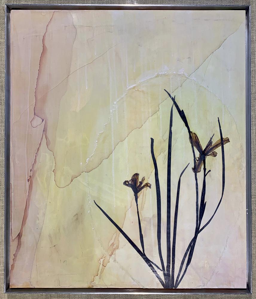 Clayton John: Series - Alison's Pressings II, mixed media - alcohol inks, giclee print, encaustic medium on gator board.