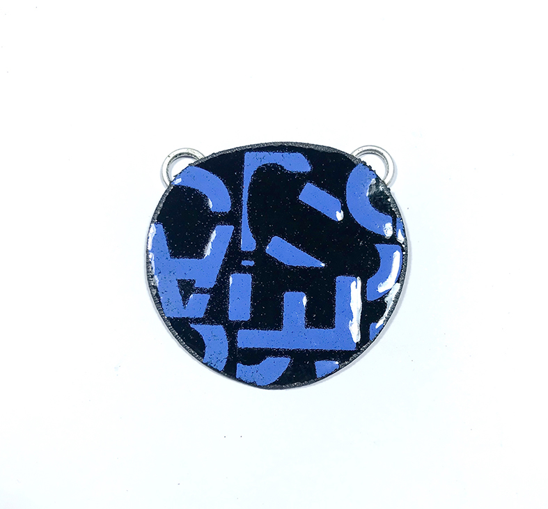 Tracy Hopkirk: stencilled vitreous enamel on copper neckpiece 40x35mm (approx).