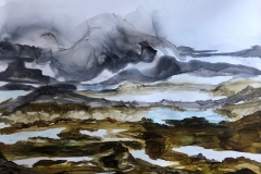 Tracey Miller: Distant Valleys, ink on Yupo