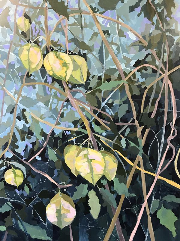 Leanne Booth: Bush Lanterns,  mixed media on canvas
