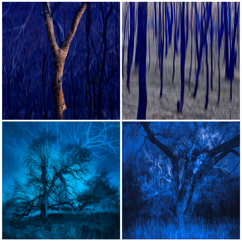 Mark Kelly: (clockwise) Blue Yonder, Blue Poles, Blue Moon, Blue Haze
